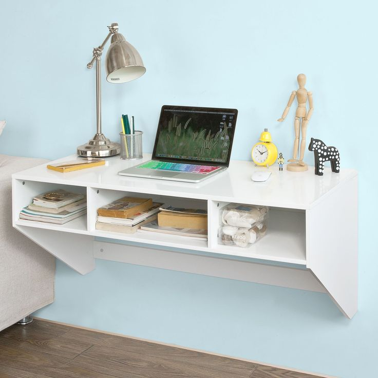 White Wall-mounted Table Desk with 3 Drawers