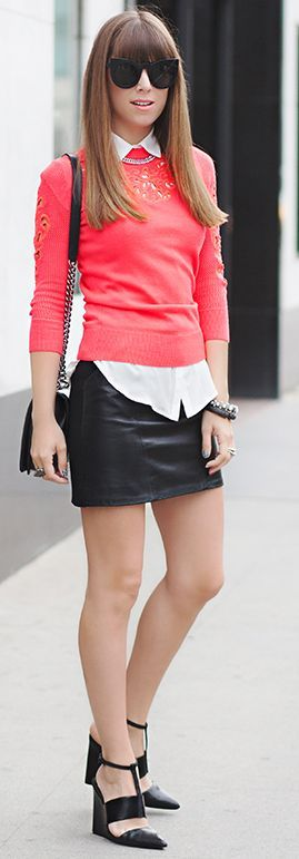 bright sweater over white collared shirt, leather skirt and modern wedges