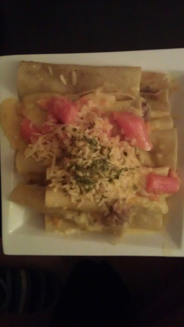 Home made Cannelloni with mozzarella, beef and pumpkins sauce.
