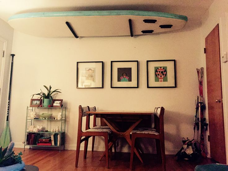 Ceiling Paddleboard Rack Charley Harper Prints Mid Century Teak Dining Chairs