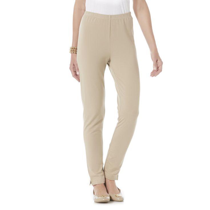 Basic Editions Women's Basic Leggings, Size: Medium, Perfect Khaki