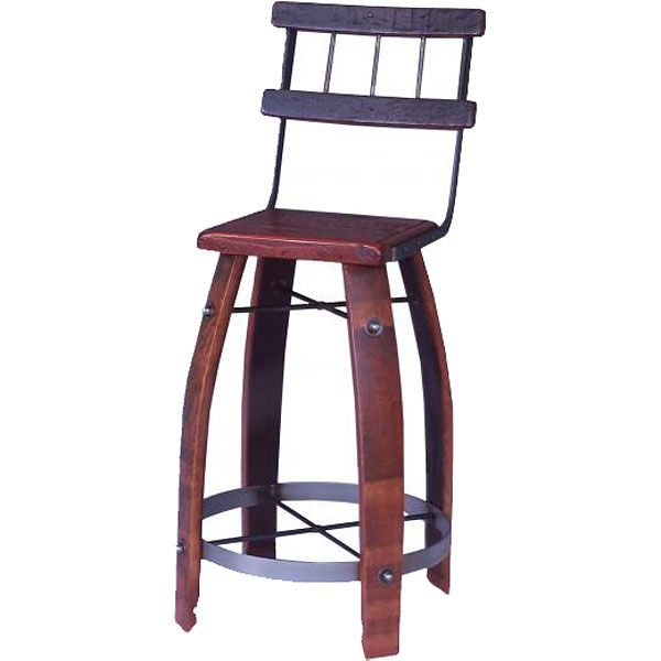 The Wine Barrel Stave Stool with Back by 2 Day Designs is constructed of salvaged wine barrels and features barrel stave legs and backrest, a metal hoop footrest and your choice of seat material. Description from appliancesconnection.com. I searched for this on bing.com/images