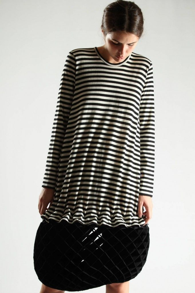 Junya Watanabe calf-length striped dress in light wool jersey with three-dimensional origami half-moon bottom, crew-neck, shorts pants on the inside, back zip closure.