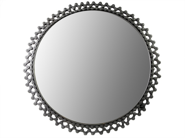 recycled bicycle chain mirror, recycled mirror, recycled ...