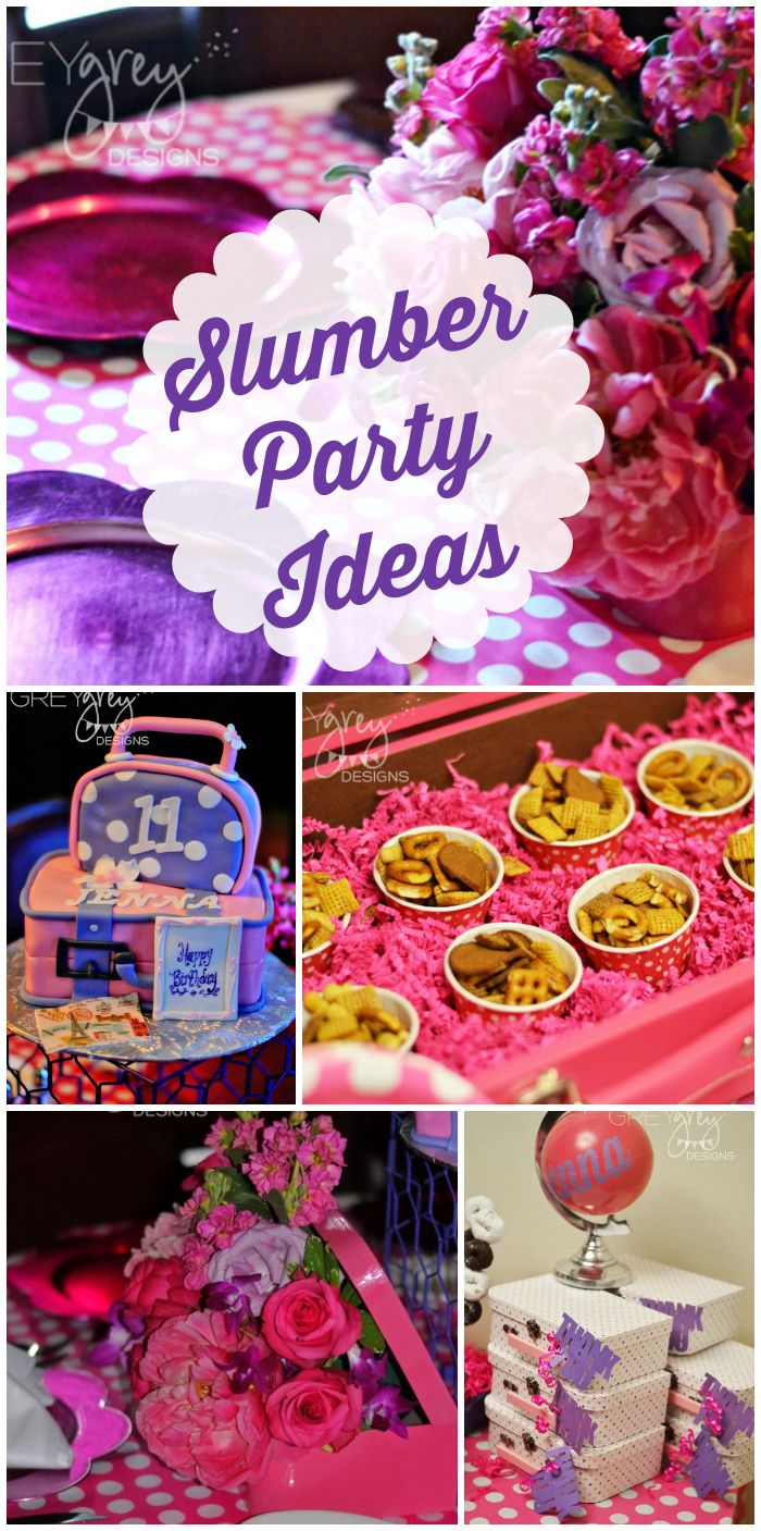 """A fun pink and purple """"staycation"""" travel slumber party for a girl birthday!  See more party ideas at CatchMyParty.com!"""