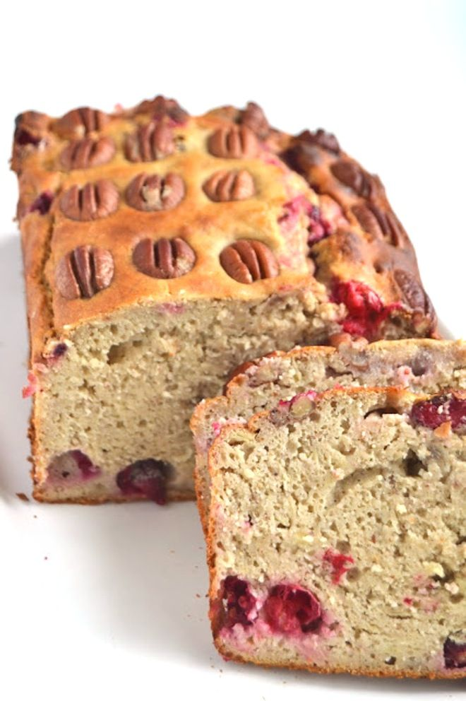 CRANBERRY PECAN BANANA BREAD Ingredients: 1 1/2 cups whole-wheat flour 1 1/2 teaspoons baking powder 2 eggs, beaten 2 large ripe bananas, mashed 1/2 cup plain Greek yogurt 1/4 cup maple syrup 1/2 cup fresh cranberries 1/4 cup pecans Directions: 1. Preheat oven to 350 degrees and spray bread pan with nonstick spray. 2. Combine flour and baking soda in a large bowl. Add in banana, Greek yogurt, eggs, and maple syrup. Stir until mixed well. Stir in the cranberries. 3. Pour the batter into…