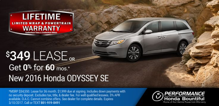New 2016 Honda Odyssey: Purchase a New 2016 Odyssey with a Lifetime Limited Wrap & Powertrain Warranty for only $31,986 or lease for only $349 per month or get 0% Financing for 60 months OAC. https://www.performanceut.com/offers/new-2016-honda-odyssey-bountiful-0217?utm_source=rss&utm_medium=Sendible&utm_campaign=RSS