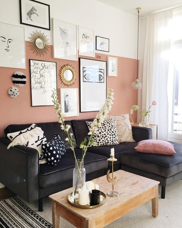 A Beautiful Two Tone Pink And White Wall Coupled With A Stylish Gallery Wall And A Sumptuous Velvet In 2020 Home Living Room Living Room Decor Living Room Inspiration #two #toned #living #room #walls