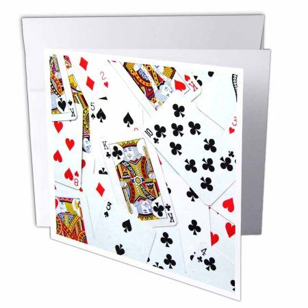 3dRose Scattered playing cards photo - for card game players eg poker bridge games casino las vegas night, Greeting Cards, 6 x 6 inches, set of 6