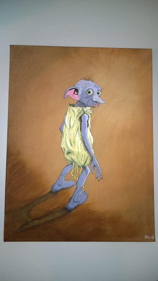 Dobby från Harry Potter. Akrylmålning till min dotter Art konst painting akryl canvas
