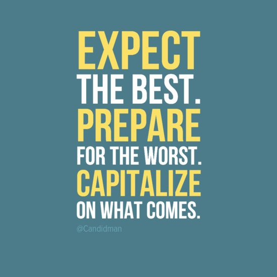 """""""Expect the best. Prepare for the worst. Capitalize on what comes."""" #Inspirational #Quotes @Candidman"""
