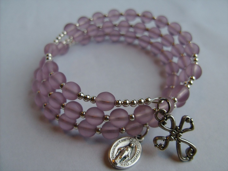 how to make a rosary bracelet with memory wire
