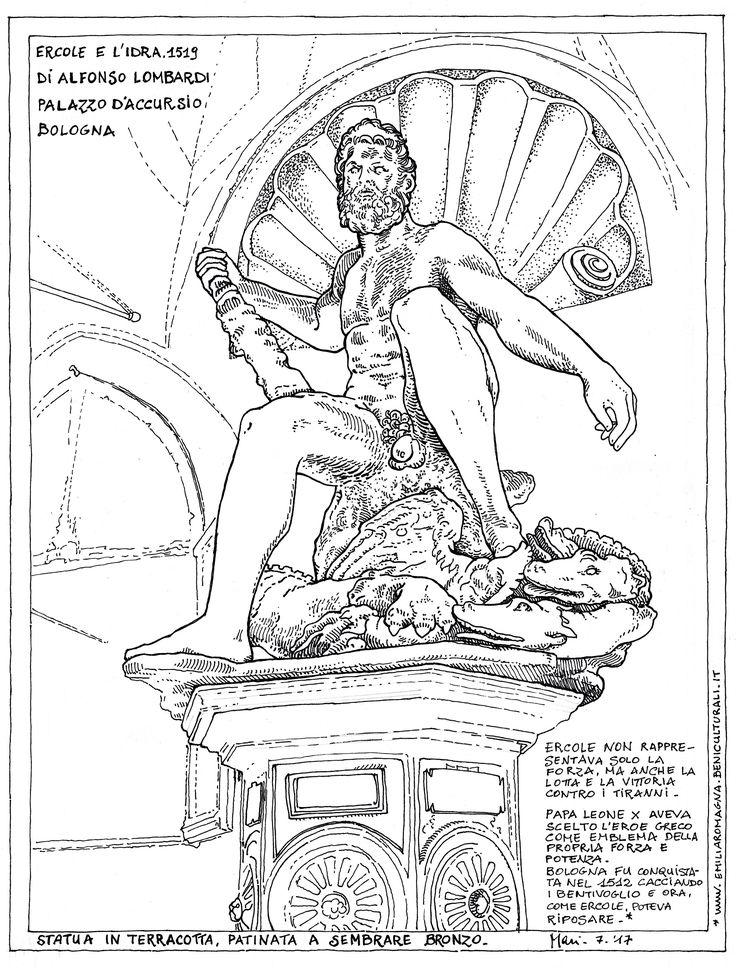 CARTOLINA D'ERCOLE - Ercole e l'idra, 1519, di Alfonso Lombardi. Palazzo d'Accursio, Bologna. Statua in terracotta, patinata a sembrare bronzo.  Ercole non rappresentava solo la forza, ma anche la lotta e la vittoria contro i tiranni. Papa Leone X aveva scelto l'eroe greco come emblema della propria forza e potenza. Bologna fu conquistata nel 1512 dal Vaticano cacciando i Bentivoglio e ora, come Ercole, poteva riposare.