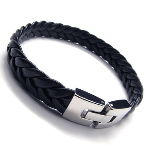 SLICK BLACK LEATHER BRACELET: KONOV Jewelry Men's Leather Bracelet, Stainless Steel Clasp, Black Silver, 9 Inch: KONOV Jewelry: Jewelry