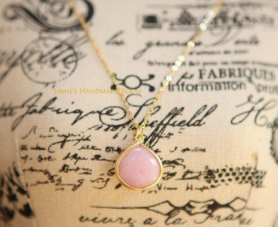 Ice Pink Jade Wide Tear Drop Earrings Necklace by JamiesQuilting, $16.00