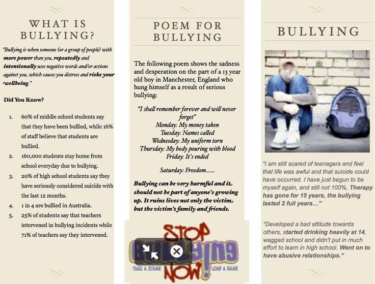 image result for anti bullying pamphlet senior global issues pinterest. Black Bedroom Furniture Sets. Home Design Ideas