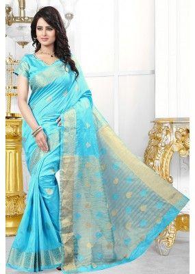 Party Wear Sky Blue Banarasi Silk Saree  - 71450