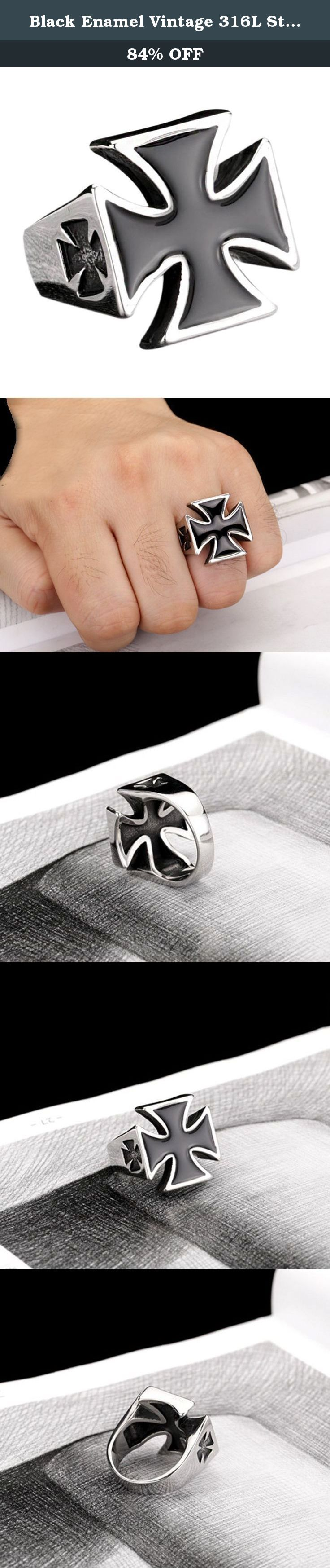 Black Enamel Vintage 316L Stainless Steel Never Fade Iron Cross Men's Punk Retro Ring Size 7-13. Why choose Stainless Steel Jewelry? Stainless Steel jewelry does not tarnish and oxidize, which can last longer than other jewelries. It is able to endure a lot of wear and tear. And it is amazingly hypoallergenic. Such advantages make it a more popular accessory. Shopping Notes: 1. Currently all of our items are sent from China, which usually 7-15 business days. Tracking number is provided…