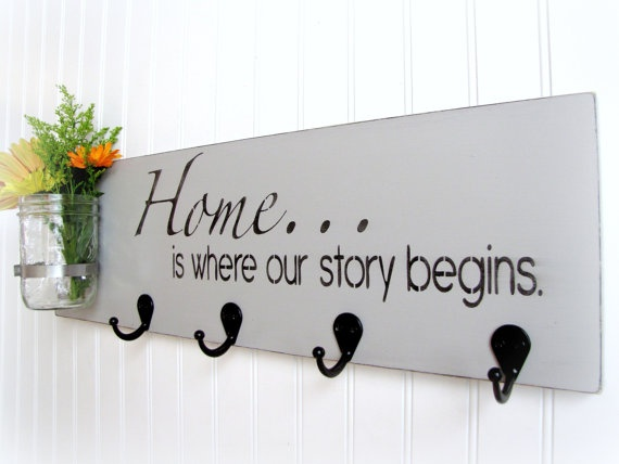 Key rack- Home is where our story begins. My wonderful cousin @Sarah Chintomby Stevens made this for my new home :)