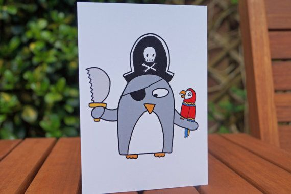 Funny Penguin Pirate Card  Birthday card by penguinparadeshop