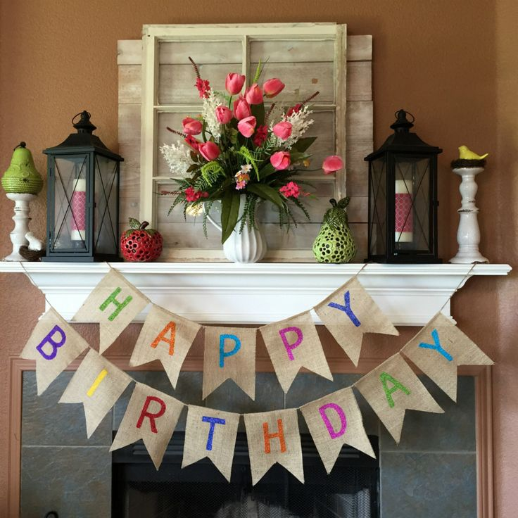 "You want your Birthday Party to SHINE and our Happy Birthday burlap banner helps your party to go over the top! Take the stress out of decorating with this Birthday Banner! SIZE: Happy - 35"" long Birt"
