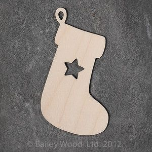 10 x Wooden Stocking Gift Tag Blank Plain Craft Shapes Christmas Decoration | eBay