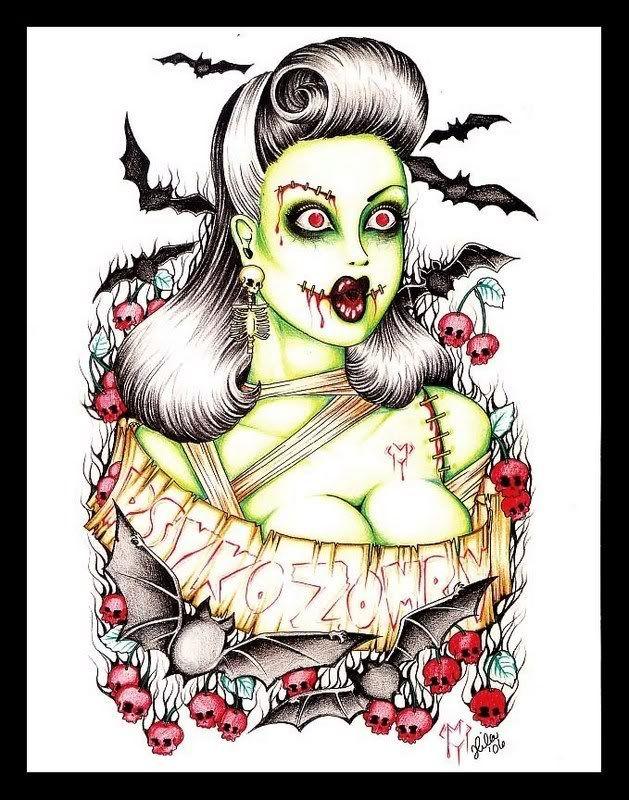 Sexy Zombie Pin Up Girls | Zombie Pin Up Girl Tattooszombie Pin Up Girl Tattoo Request Trisphee ...