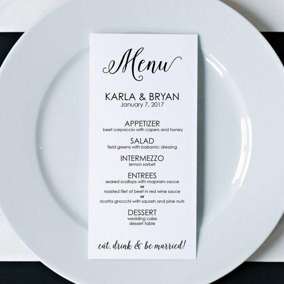 8 best Wedding Menus images on Pinterest Dinner menu, Marriage - wedding menu