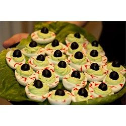 """Halloween Eye of Newt I """"Really, can you go wrong with a deviled egg? Great twist on a classic recipe, these were a huge hit at the Halloween party!"""""""
