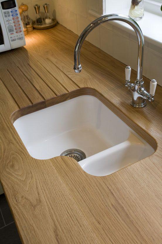 Wide Plank Oak Draining Board With Ceramic Undermount Sink