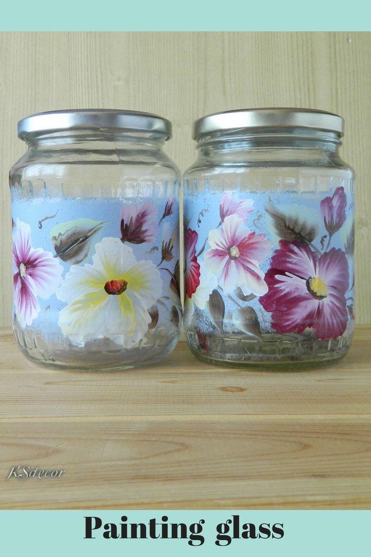 Hand Painted Blue Glass Cookie Jars Decorative Canisters Etsy In 2021 Glass Cookie Jars Painting Glass Jars Glass Jars