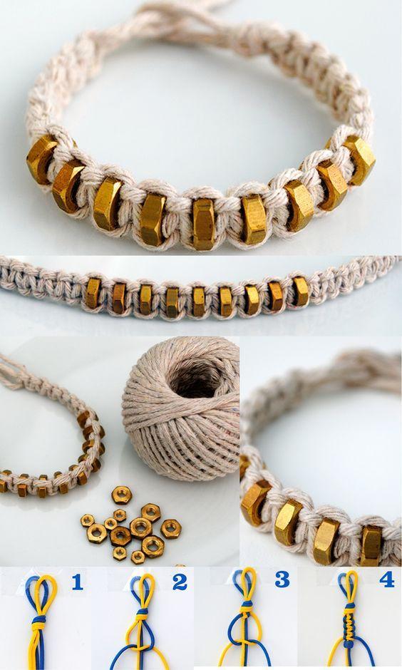 Fai da te {macramè: nodo quadrato} stringa & HEXNUT braccialetto. Supplies: Macrame Cord & 9 hexnuts .: