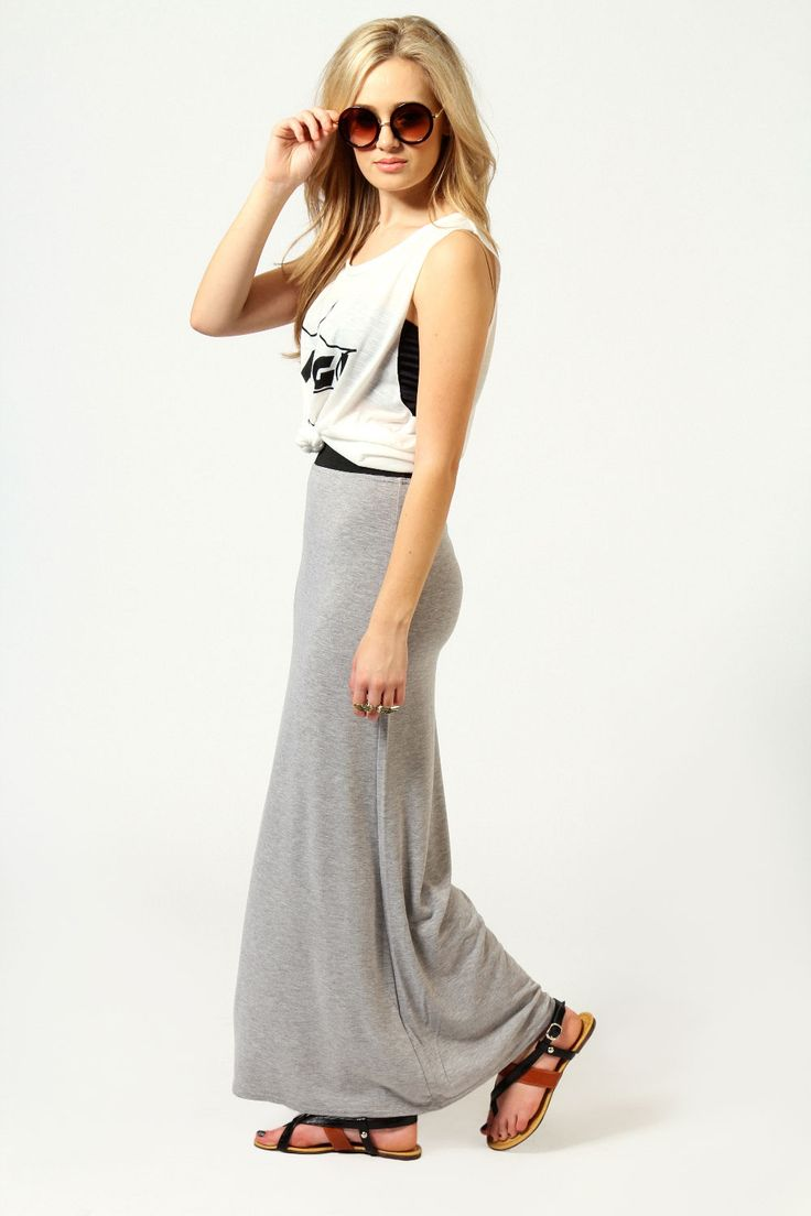 Narin Jersey Maxi Skirt at boohoo.