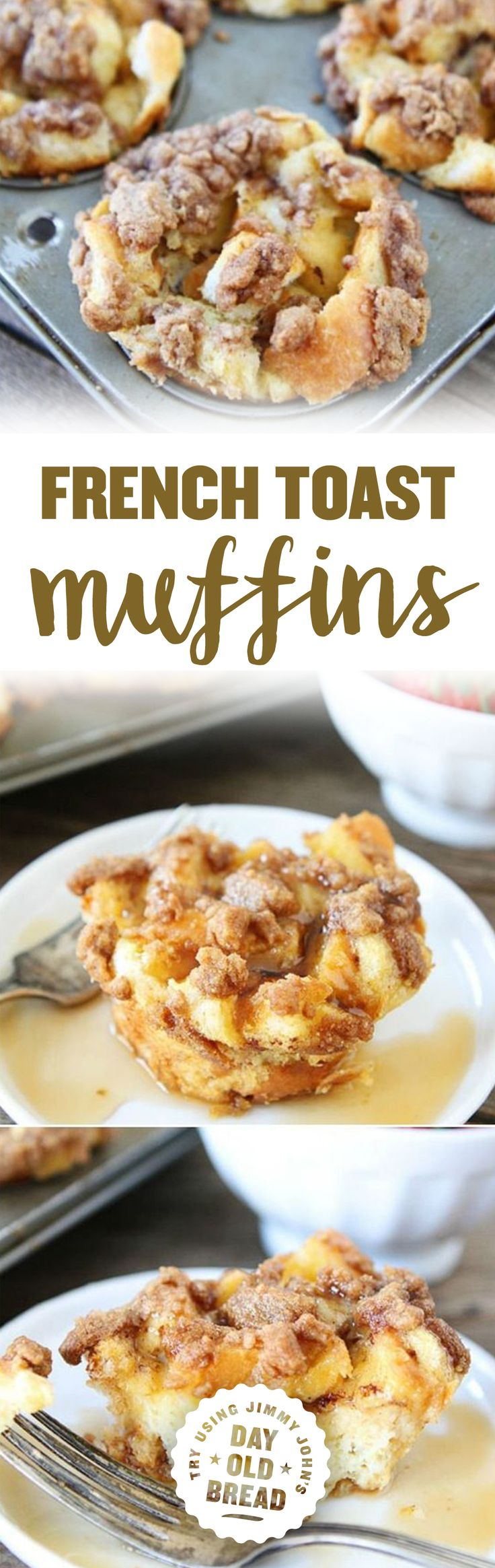 Baked French Toast Muffins Recipe on http://twopeasandtheirpod.com Try making with Jimmy John's Day Old Bread for a yummy breakfast treat