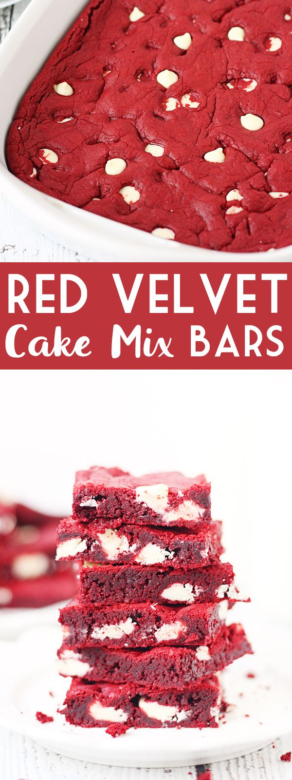 Red Velvet Cake Mix Bars -- Red velvet cake mix bars require only five ingredients and five minutes to throw together. They're soft, chewy and all kinds of white chocolatey Perfect for Valentine's Day! | halfscratched.com #redvelvet #recipe #cookies