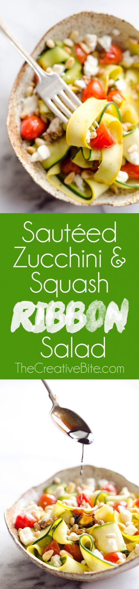 Ribboned Squash & Zucchini Salad is a fresh and healthy vegetarian salad with light veggies, toasted pine nuts, creamy goat cheese and balsamic glaze. Pair it with some grilled shrimp or chicken for an amazing and flavorful dinner you won't forget! #Vegetable #Salad