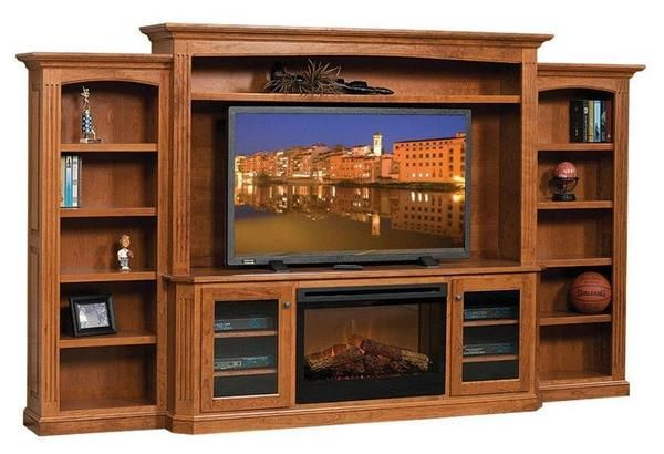 Amish Buckingham Entertainment Center With Electric Fireplace In