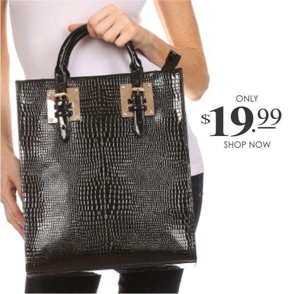 Glossy Crocodile Skin Like Handbag In Black By Sofia Erika Collections This