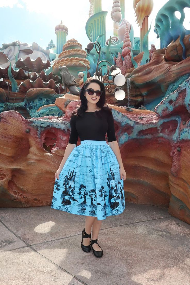 Pinup Couture Bella Skirt in Blue Castle Print | Pinup Girl Clothing