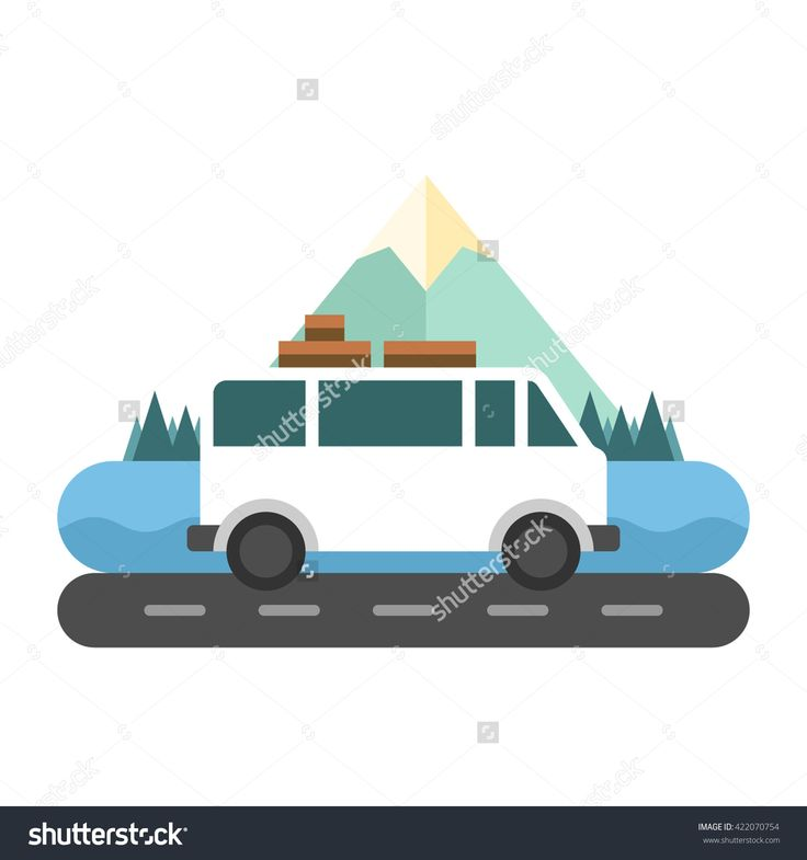 Travelling by a camper van, mountains and trees on background.  Flat vector illustration isolated on white background