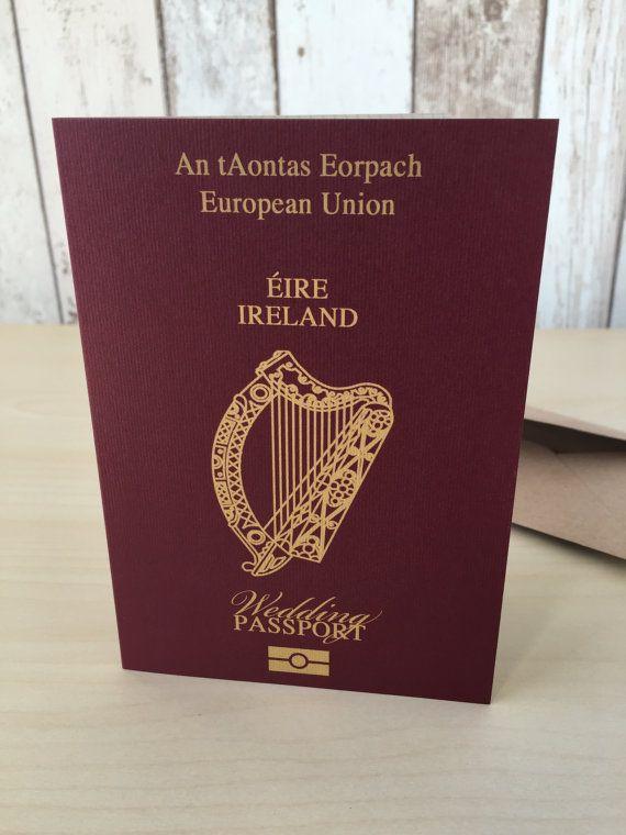 Personalised Passport Wedding Invitations Ireland Irish Eire   Destination Abroad Travel Beach