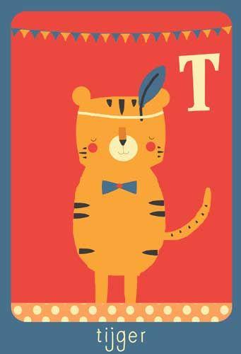 Alfabet print - T - Tijger - Pimpelpluis - https://www.facebook.com/pages/Pimpelpluis/188675421305550?ref=hl - (nursery print illustration kids children art poster dieren kinderen cute illustratie animal alphabet) abc cards