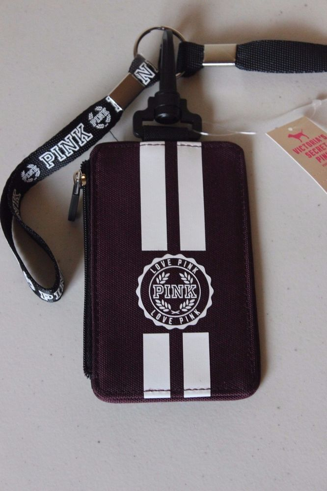 Pink Victoria's Secret Pink Lanyard ID Holder Wallet Limited Edition - Maroon…