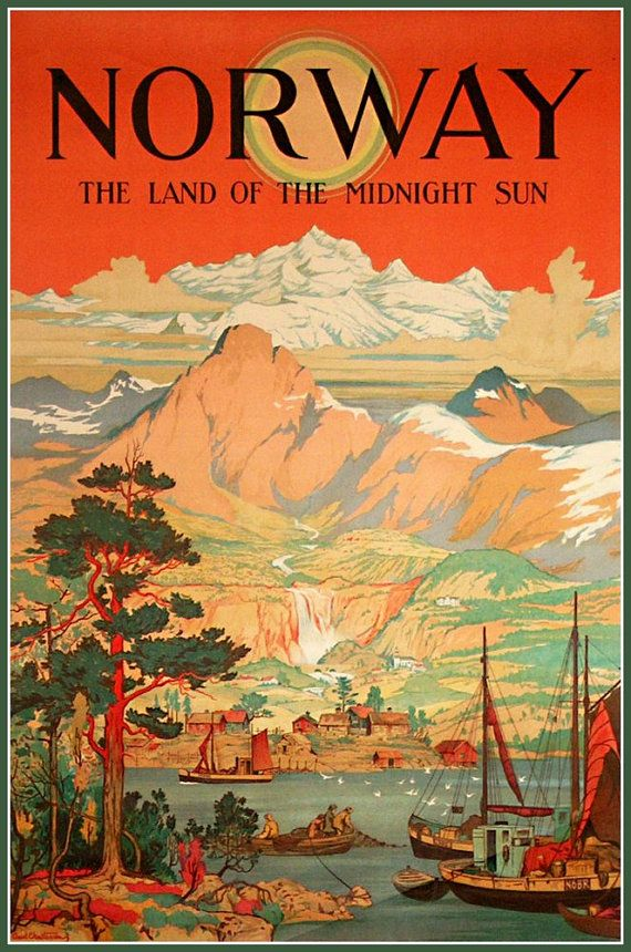 Norway Midnight Sun Travel Poster 1930s - Print.  Prints from old-time Travel Posters. This one advertised travel to Norway Land of the Midnight