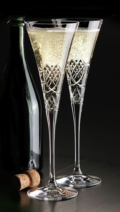 Cashs Celtic Heart Wedding Flutes, Pair