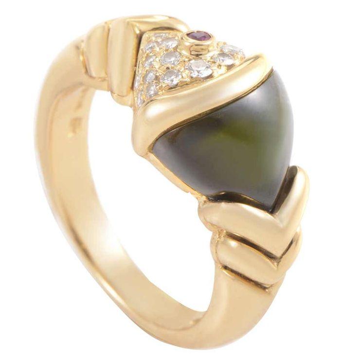 bulgari naturalia fish tourmaline diamond gold ring