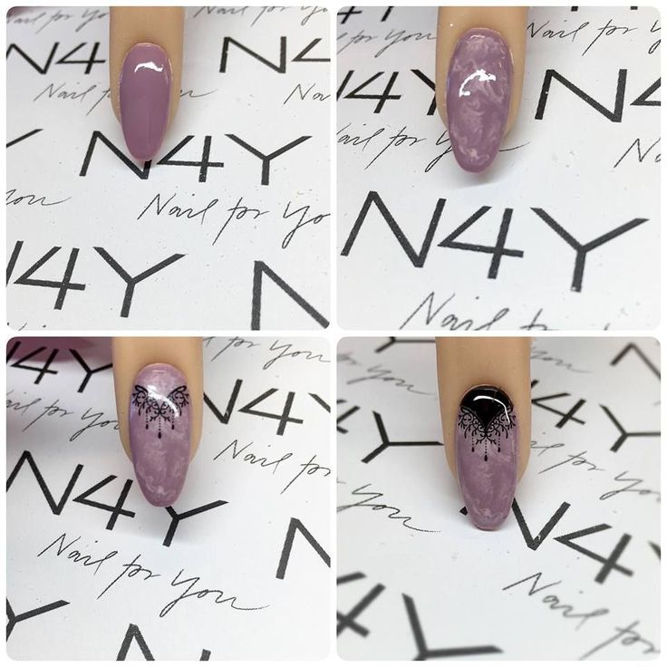 Nail art step by step with water nail sticker on a gel polish nail