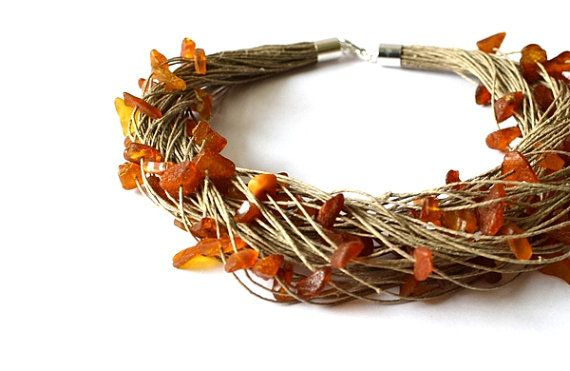 Raw Amber Necklace Natural Amber Linen Necklace Yellow by KARUBA