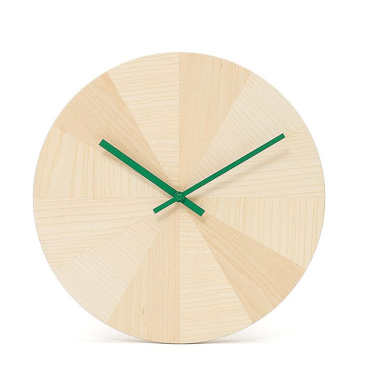 top3 by design - Discipline - wall clock ash wood green