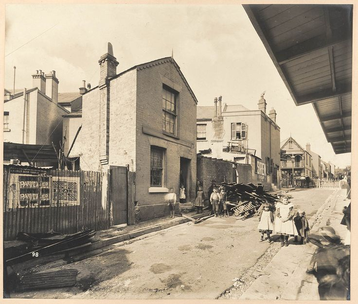 Bubonic Plague in Sydney  Nos. 24, etc., Hunt-street from Views taken during Cleansing Operations, Quarantine Area, Sydney,NSW Australia 1900